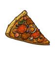 sliced piece italian pizza vector image vector image
