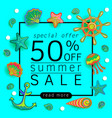 summer sale background with marine life vector image