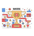thin line success poster banner template vector image vector image