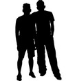 two men together silhouette vector image
