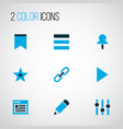 user icons colored set with link browser edit vector image vector image