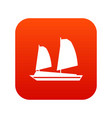 vietnamese junk boat icon digital red vector image vector image