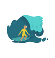 young male surfer riding blue ocean or sea wave on vector image vector image