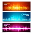 Equalizer sound waves display banners set vector image