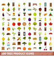 100 tree product icons set flat style vector image vector image