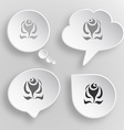 Abstract rose White flat buttons on gray vector image vector image