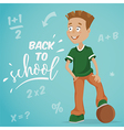 back to school schoolboy with ball vector image