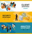 bank people isometric banners vector image vector image