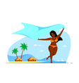 body positive plus size woman enjoys summer at vector image