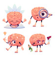 brain characters cartoon mascot with funny face vector image vector image