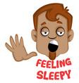 brown human emoji feeling sleepy on white vector image vector image