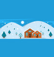 cabin banner flat style vector image vector image