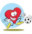 Cartoon Heart Playing Soccer vector image vector image