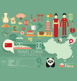 china flat icons design travel vector image vector image