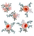 collection decorative design flowers and leaves vector image