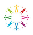 color people making a star with their legs vector image vector image