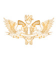 contour image of two revolvers ribbon wings vector image vector image