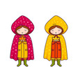cute little girls in raincoats with polka dots vector image vector image