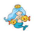 cute princess mermaid with crown and two golden vector image vector image
