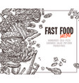 fast food background with square frame vector image vector image