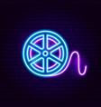 film reel neon sign vector image vector image