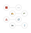flat icons cement blender pipeline valve vector image vector image