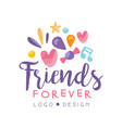 friends forever logo design happy friendship day vector image vector image
