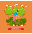 Gardener trimming hedges flat design vector image vector image