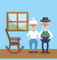 grandparent together at home with chair vector image