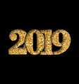 Happy new year shiny gold number 2019 golden