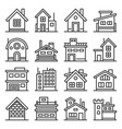 home and house buildings icons set line style vector image