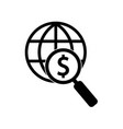 international search for money icon icon simple vector image