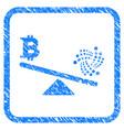 iota bitcoin balance scale framed stamp vector image vector image