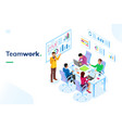 isometric office room with people at teamwork vector image