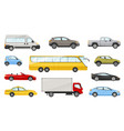 large set assorted cars and vehicles vector image