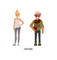 man and woman hipsters vector image