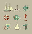 marine colored icons set vector image vector image
