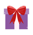 merry christmas purple gift bow decoration icon vector image