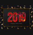 new year 2019 background gold frame on tree vector image vector image