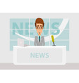 news anchorman in breaking and tv screen vector image vector image