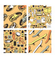 set of hand drawn summer seamless patterns yellow vector image vector image
