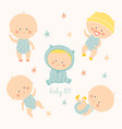 set with cute baby boys growth from newborn to vector image vector image