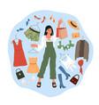 shopping woman cartoon girl buys wear dresses vector image vector image