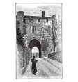 st albans monastery gate place vintage engraving vector image vector image