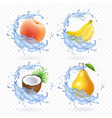 sweet fruit banana coconut peach pear vector image vector image
