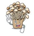 two finger enoki mushroom character cartoon vector image