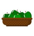 wicker basket with juicy green apples vector image vector image