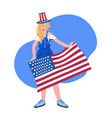 woman in festive hat holding usa flag 4th july vector image vector image