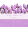 women day card with purple tulip flowers vector image vector image