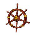 wooden steering wheel a sea ship vector image vector image